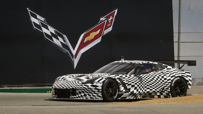 A Corvette Racing C7.R making its first public appearance in August 2013 at the Rolex Monterey Motorsports Reunion in Monterey, Calif.