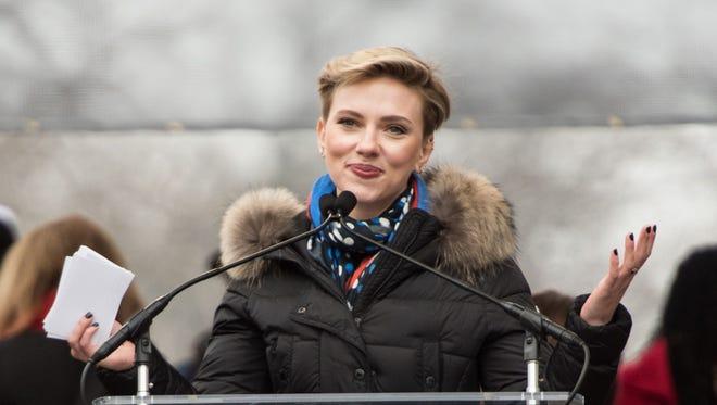 Scarlett Johansson raises her voice at the Women's March on Washington on Jan. 21.