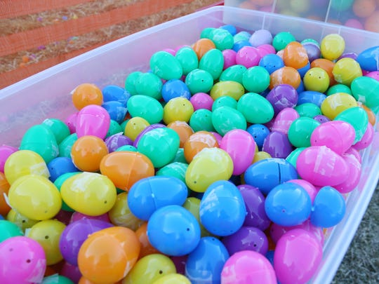 A tub of easter eggs before the start of Saturday's