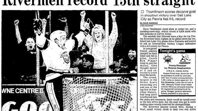 Rivermen captain Dave Thomlinson celebrates a goal during Peoria's 4-3 comeback win in a shootout over Salt Lake City before a sellout crowd of 8,874 at Carver Arena that saw the Rivermen tie an IHL record with their 15th consecutive win.