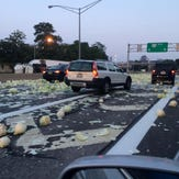 Cabbage truck roll over over affecting  I 490 west at Clinton exit