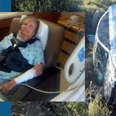 Wanda Mobley was rescued from her car that had crashed in a ravine.