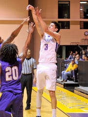 Hardin-Simmons guard Caleb Spoon shoots a 3-pointer