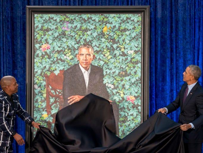 Former President Barack Obama, right, and Artist Kehinde