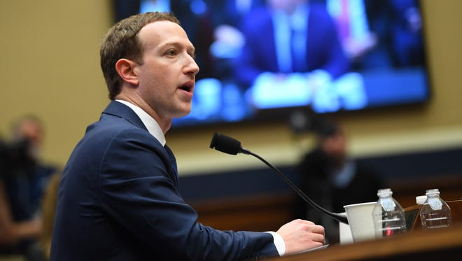"Facebook CEO Mark Zuckerberg testifies before The Committee on Energy and Commerce on Wednesday, April 11, 2018, in the Rayburn House Office Building at a hearing titled  ""Facebook: Transparency and Use of Consumer Data."""