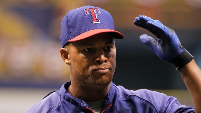 Texas Rangers third baseman Adrian Beltre (29) prior to a game against the Tampa Bay Rays.