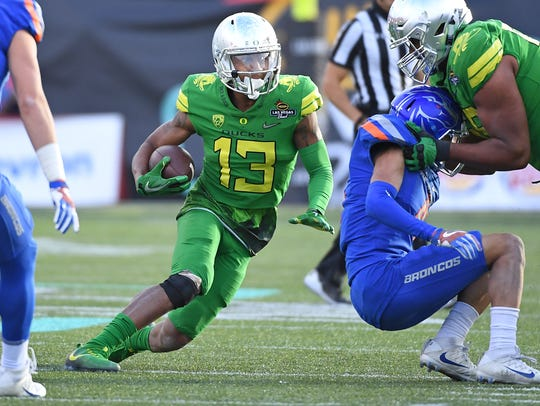 Dec 16, 2017; Las Vegas, NV, USA; Oregon Ducks wide