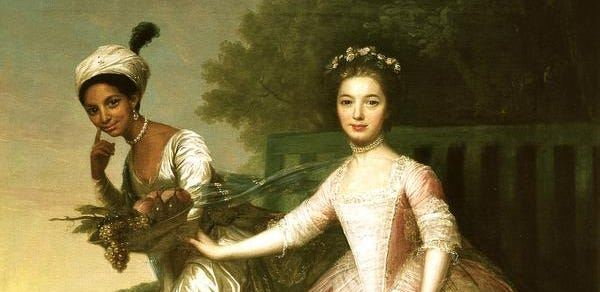 """Cousins Dido Elizabeth Belle, left, and Lady Elizabeth Murray in the painting that inspired the script for the new movie '""""Belle,"""" about a biracial woman raised as a beloved member of an aristocratic family in 18th-century England. Her loving relationship with her her great-uncle, the Lord Chief Justice of England, influenced his rulings that led to the abolition of slavery in the British Empire. The painting hangs in the Murray family home, Scone Palace in Scotland; the identity of the artist is in dispute."""