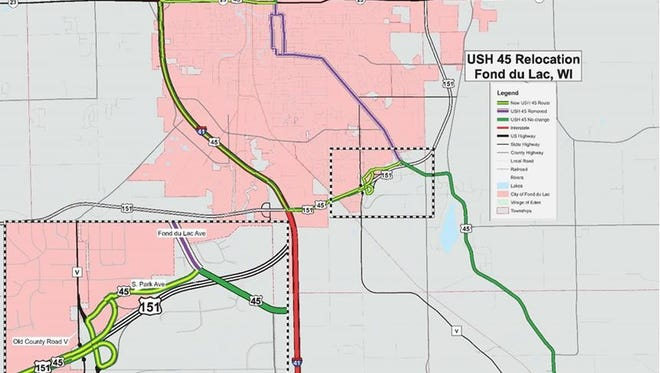A map of the relocation of Highway 45 after the Highway V interchange is installed.