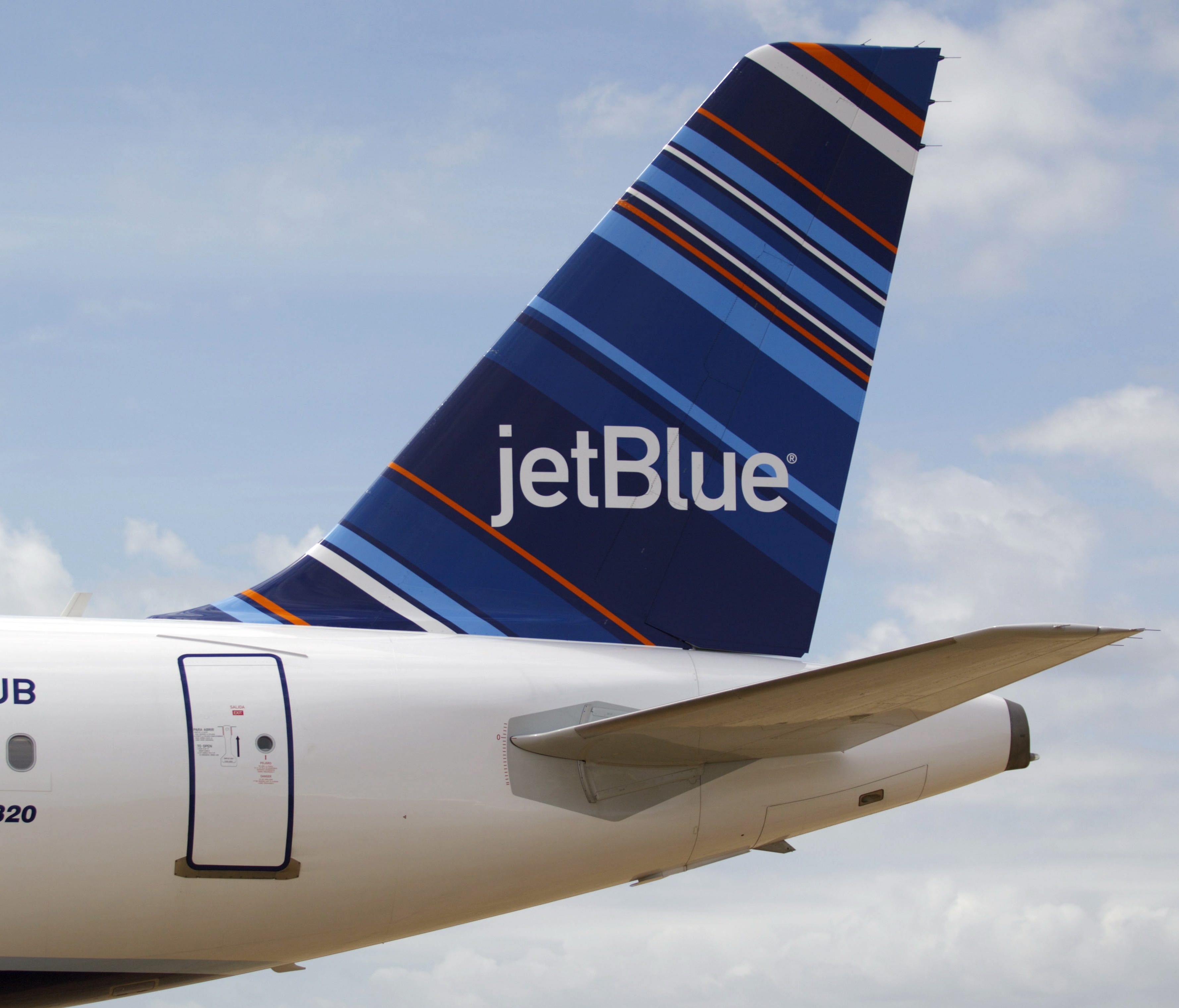 A JetBlue A320 is parked at the Airbus assembly line in Mobile, Ala., on April 8, 2013.