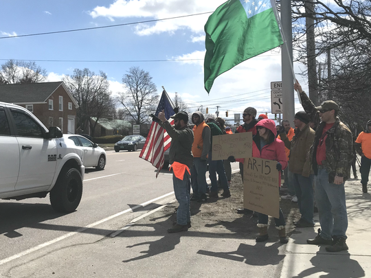 More than 150 gun-rights activists rallied on Shelburne Road in South Burlington on Saturday, April 7, 2018.