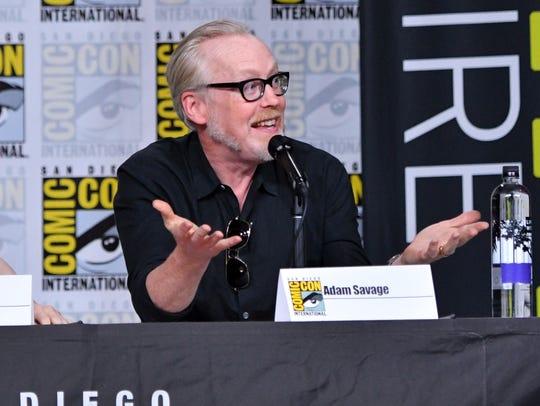 Adam Savage speaks onstage at The Great Debate panel