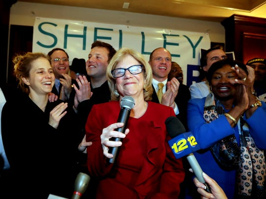 Shelley Mayer addresses supporters after she defeated