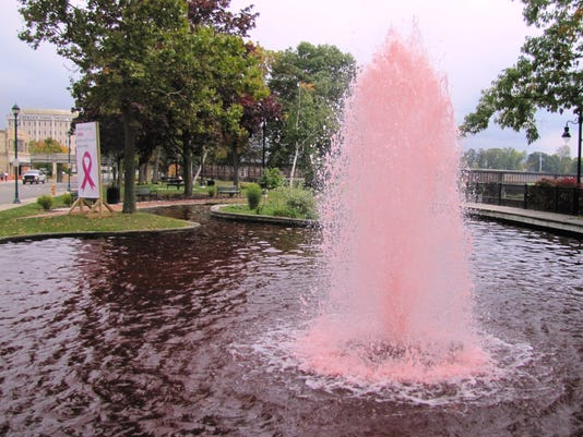 Riverfront Park fountain pink for breast cancer