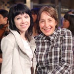 """Carly Rae Jepsen, left, and Didi Conn appear during a rehearsal for """"Grease: Live."""" Conn, who played Frenchy in the 1978 John Travolta-led movie, will make a cameo appearancein Fox's """"Grease: Live,"""" airing on Sunday."""