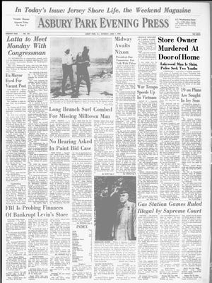 The front page of the Asbury Park Evening Press on June, 7, 1969, reporting on the murder of Paul Sass. (In the upper-right corner.)