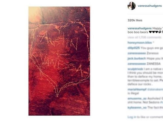 A photo Vanessa Hudgens posted of a possible carving into Sedona red rock.