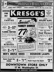 Kresge's ad for the Hoosier Bargain Day in 1958.