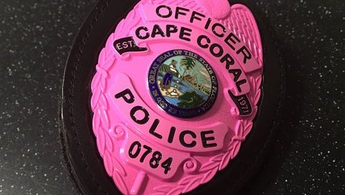 A pink badge some Cape Coral police officers are wearing for October in support of breast cancer awareness.