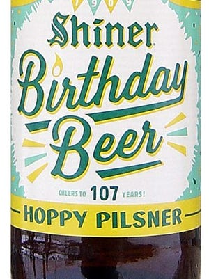 Shiner Hoppy Pilsner 107 Birthday Beer, from Spoetzl Brewery in Shiner, Texas, is 5% ABV.