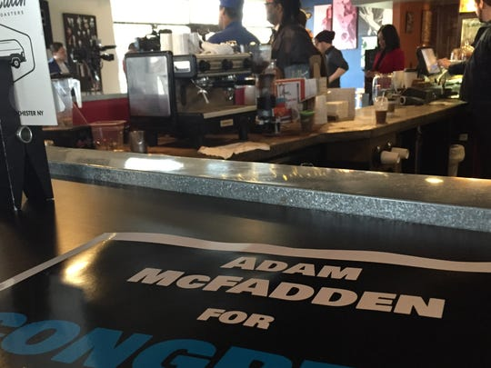City Council Vice President Adam McFadden prepares to kick off his congressional campaign Friday at Brue Coffee.