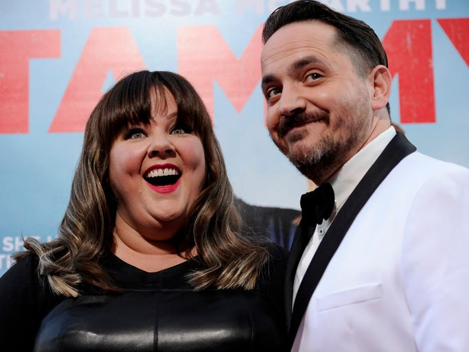 "Melissa McCarthy, left, and Ben Falcone arrive at the Los Angeles premiere of ""Tammy"" at the TCL Chinese Theatre on Monday, June 30, 2014."