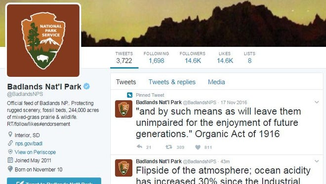 A series of climate-change related tweets appeared on the Badlands National Park Twitter account on Jan. 24, 2017.