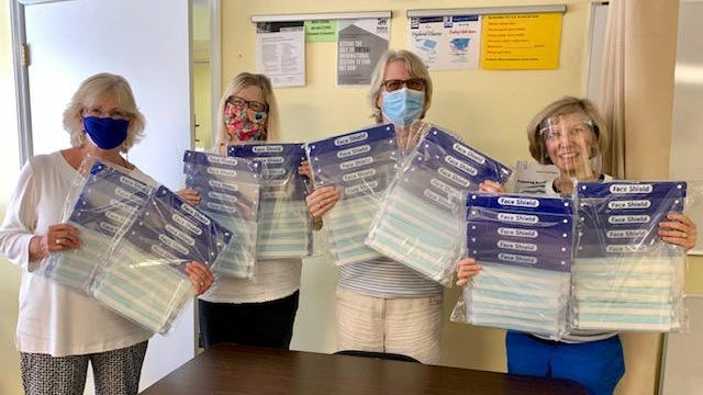 Craven Literacy Council is very grateful for the generosity of Moen Incorporated for the donation of the faceshields.  Tutors and students use the faceshields during instruction to see how our mouths form words, and so speech isn't muffled.  Pictured are the CLC staff April King, Debby Guillory, Lydia Ash, and Diane Mabry.