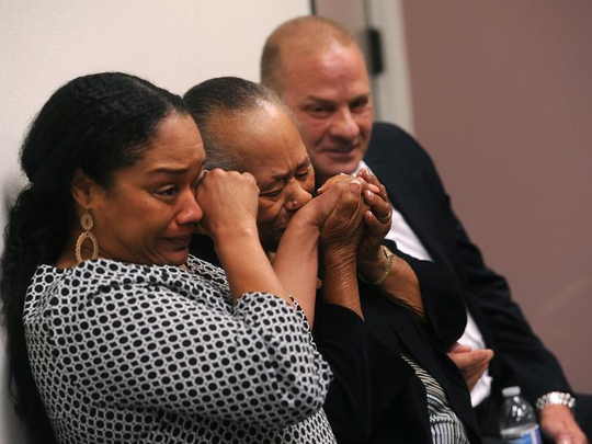O.J. Simpson's sister Shirley Baker, middle, daughter Arielle Simpson, left, and friend Tom Scotto react during Simpson's parole hearing at Lovelock Correctional Center July 20, 2017 in Lovelock, Nevada. Simpson is serving a nine to 33 year prison term for a 2007 armed robbery and kidnapping conviction.
