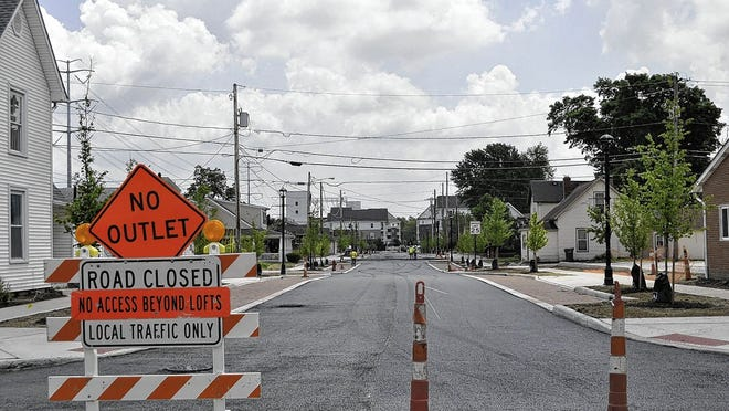 Franklin Street, pictured looking southeast from Main Street in Hilliard, is scheduled to reopen Wednesday, June 17, after the completion of a $2.4 million upgrade that includes curbs, sidewalks and streetlights on the previously unimproved road.