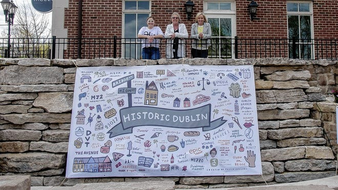 Artist Polly Sellers (left), Sharon Adamek (center) with the Historic Dublin Business Assocation and Megan James, owner of MJ2 Marketing, stand with Sellers' mural that is hanging in the park at Bridge and High streets in Dublin's Historic District.