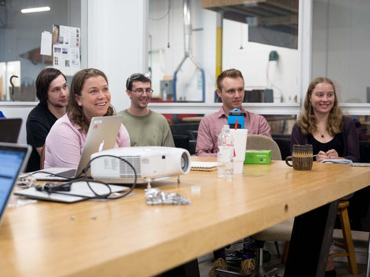 UNC Asheville students enjoy a joke by Mel Chin in the STEAM Studio. The students are, from left, Jacob Fink, Daniel Spencer, Kaitlin Thomas, Jeb Hedgecock, Elijah Nonamaker and Zoe Rorvig.