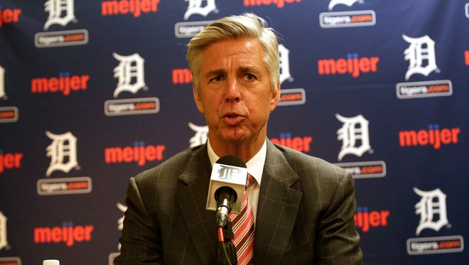 Detroit Tigers general manager Dave Dombrowski speaks to the media Tuesday, Oct. 14, 2014.