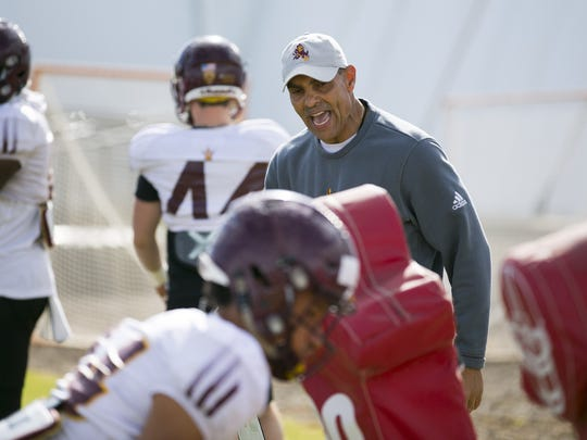 ASU head football coach  Herm Edwards during an ASU football spring practice at the Kajikawa practice fields in Tempe on Thursday, March 22, 2018.