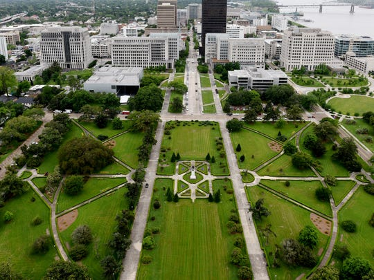 Huey Long grave and statue at the state capital can be seen from the 27th floor.