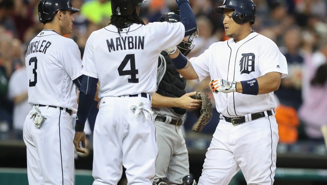 Detroit Tigers Miguel Cabrera celebrates his three run homer against the Miami Marlins Adam Conley during fifth inning action Tuesday, June 28, 2016 at Comerica Park in Detroit MI. Kirthmon F. Dozier/Detroit Free Press