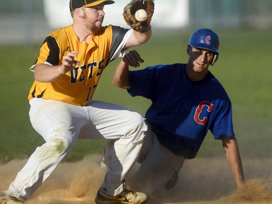Conrads' Brandon Miller is safe at second against Stewartstown's Marcus Stevenson on Thursday during a Susquehanna League baseball game in Chanceford Township. Conrads beat Stewartstown, 15-3.