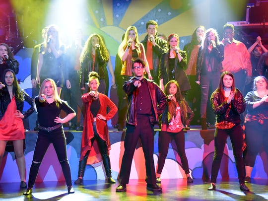 """The cast of the 2018 James M. Bennett High Rock & Roll Revival starts out the show with the Rock Medley Intro. James M. Bennett High School's  20th year hosting """"Rock 'n' Roll Revival"""" returns on Feb. 9-11 and Feb. 15-18, 2018."""