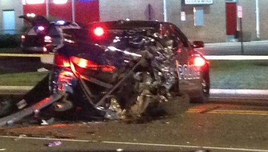 Two 23-year-old borough police officers, Jesse Urban and Robert King, were injured Friday night when a car crashed into a patrol car on Route 9 North, police said.