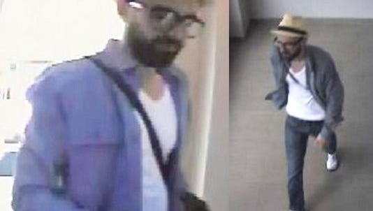 "Surveillance video shows ""dorky hipster"" thief who has targeted banks in New York City."