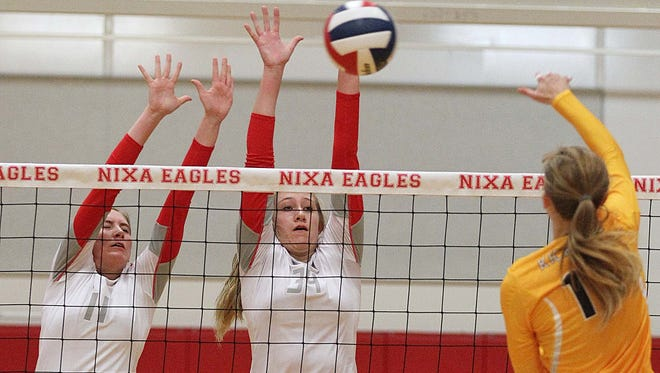 Missouri State volleyball signee Aubrey Cheffey (center) of Nixa is one of 38 all-stars scheduled to play in the 2016 Grin Action Classic volleyball tournament Saturday at Parkview High School.