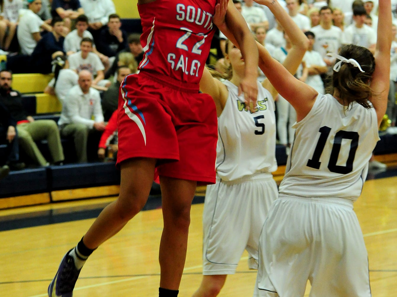 South Salem guard Evina Westbrook drives in for a lay up against West Albany during a Greater Valley Conference game on Tuesday, February 24, 2015, in Albany.
