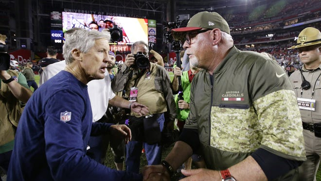 Arizona Cardinals Bruce Arins loses 22-16 to Seattle Seahawks Pete Carroll on Nov. 9, 2017 at University of Phoenix Stadium in Glendale, Ariz.