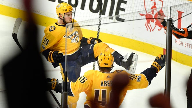 Nashville Predators center Calle Jarnkrok (19) celebrates his score in the second period as the Nashville Predators play the Vegas Golden Knights at Bridgestone