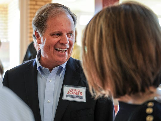 In this Aug. 3, 2017, file photo, candidate Doug Jones