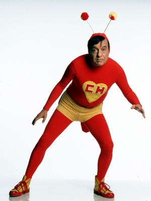 Mexican comedian Roberto Gomez Bolanos, known as Chespirito, poses for a photo as his famous character El Chapulin Colorado. According to Televisa, where he worked, the famed comedian died Friday. He was 85.