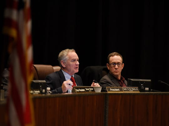 Warren City Council President Cecil St. Pierre, Jr., left, and Secretary Robert Boccomino were on the council when it passed the controversial health benefits in September.