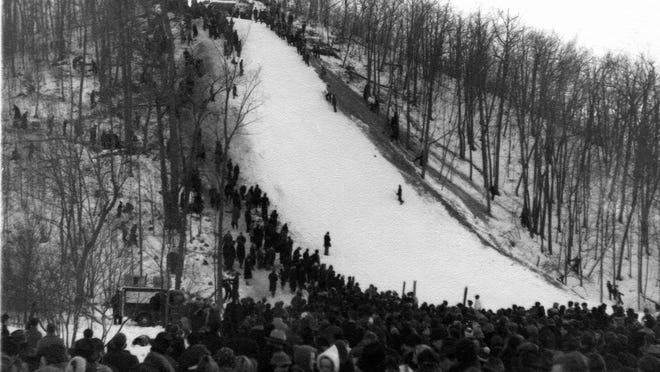 Chocolate Drop Hill, located southwest of Plymouth in the town of Mitchell, is shown during a 1949 ski tournament.