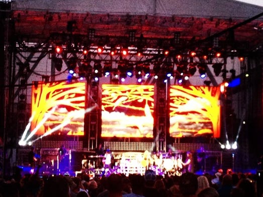Cool, almost gothic-y images on The Band Perry's stage at #buckleupfest