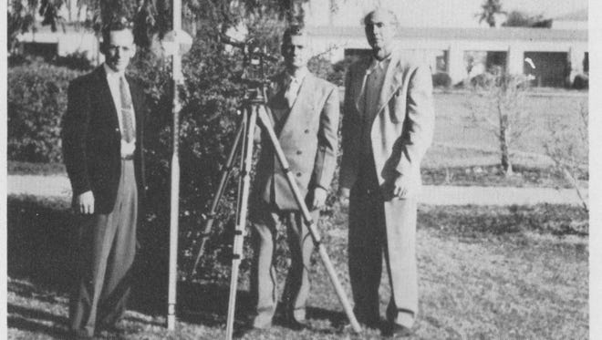 Instructors from the Phoenix College Engineering Department in 1950 who taught many Scottsdale-area returning World War II veterans Joseph R. Nokes (from left), Amos H. Hoff, head of department, and Joe R. Brundage.
